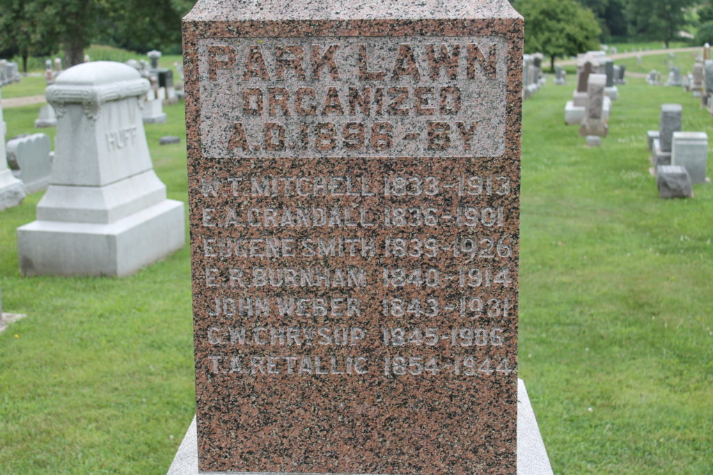 Monument dedicated to the founders of Park Lawn Cemetery in Barry, Pike County, Illinois.