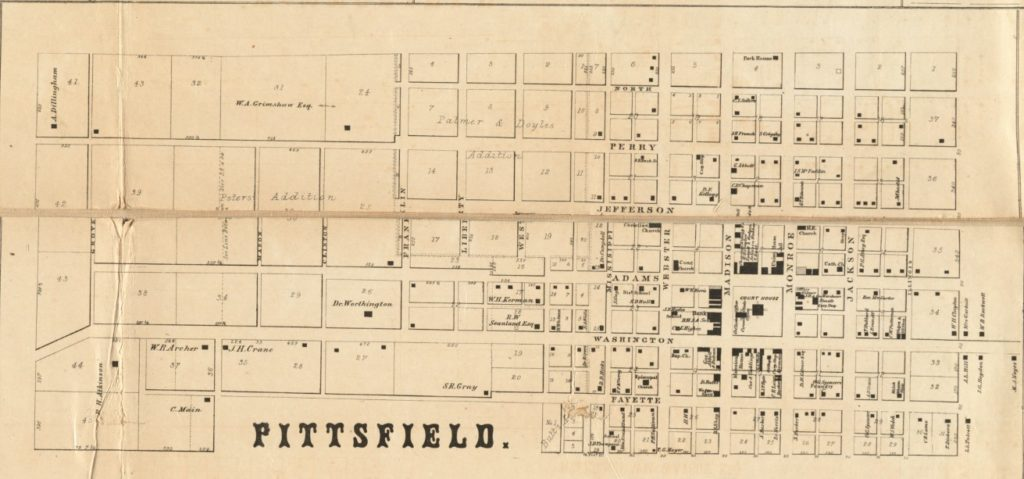 Map of Pittsfield in 1860